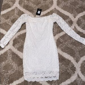 Lace white off the shoulder dress